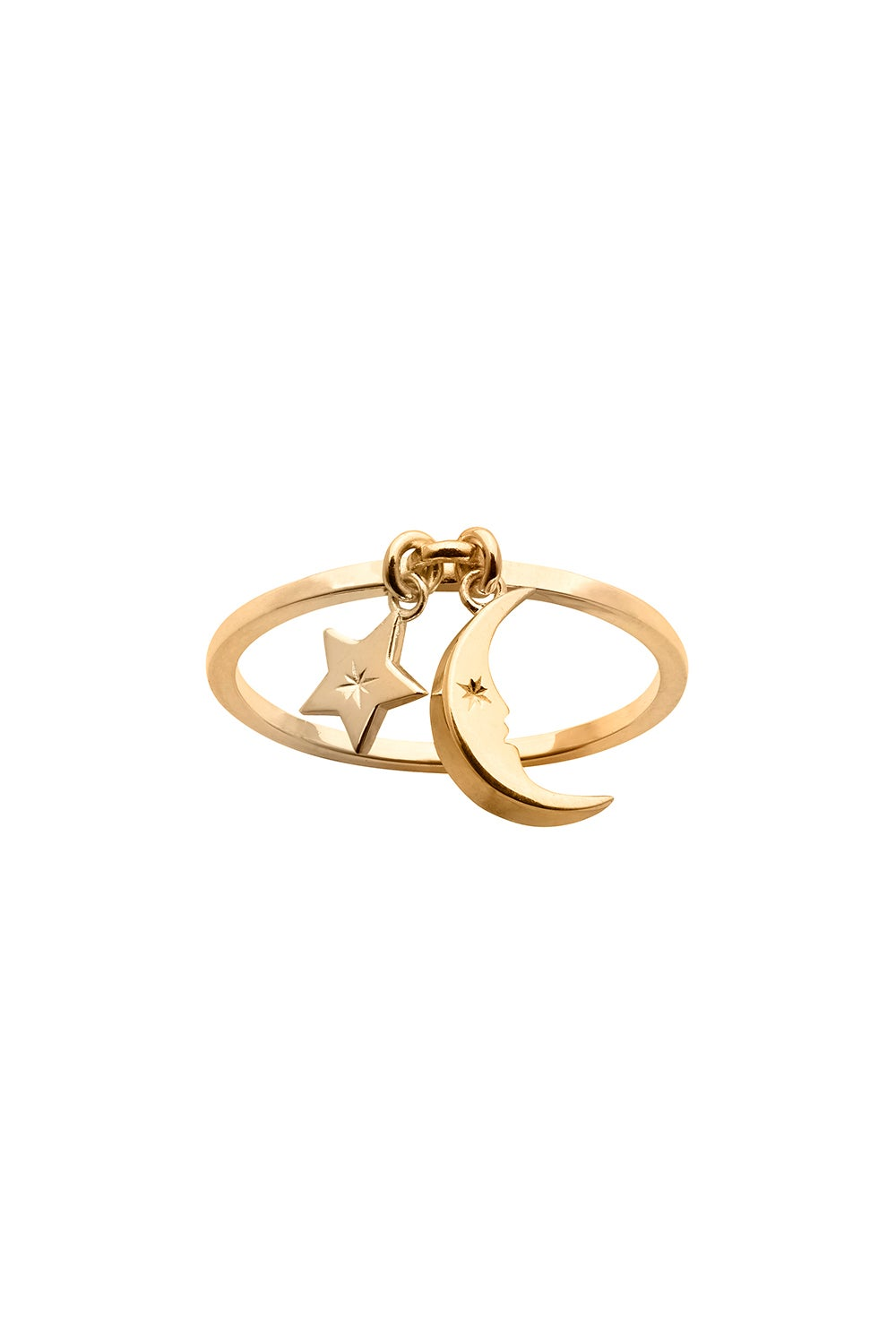 Moon and Star Charm Ring Gold