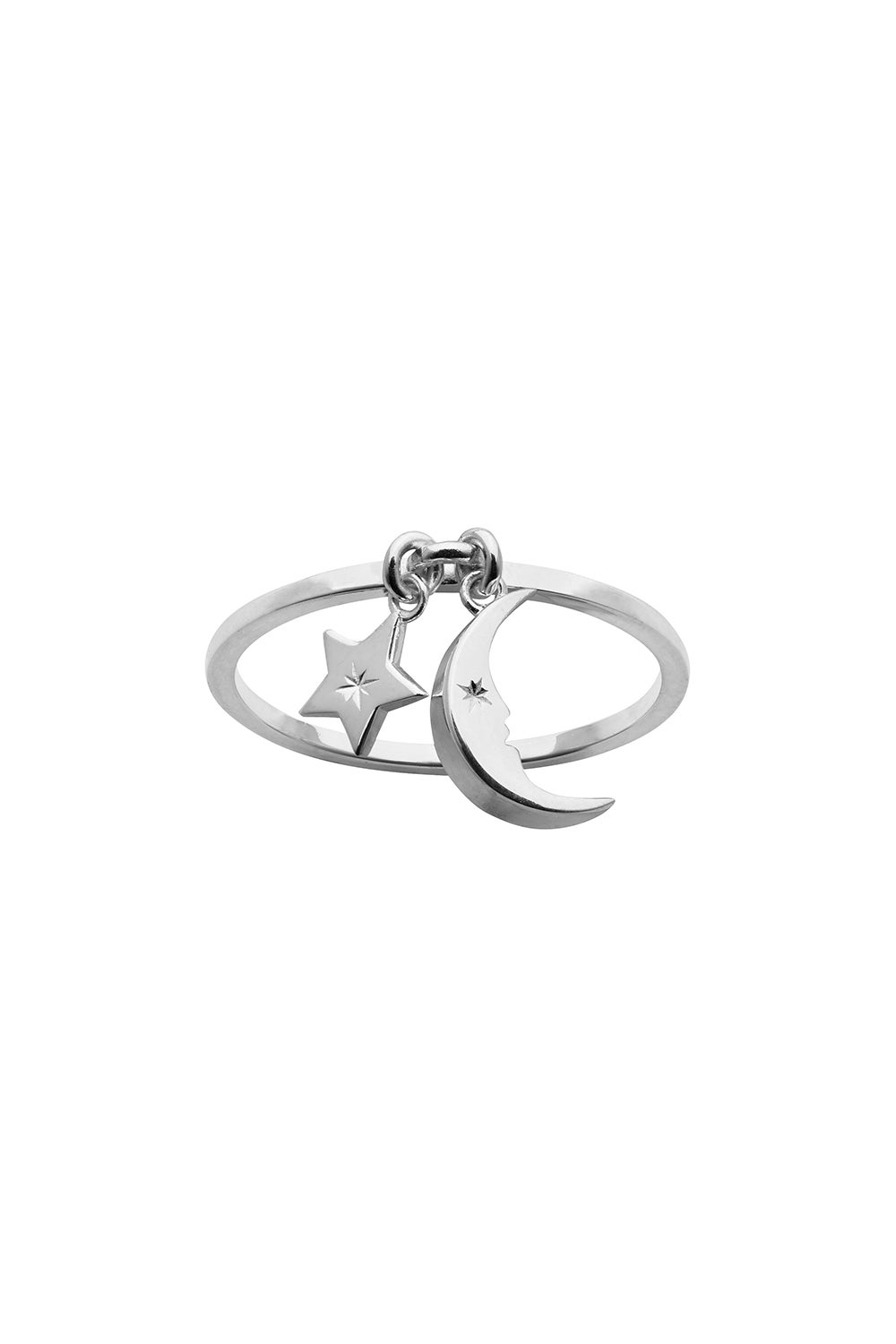 Moon and Star Charm Ring Silver