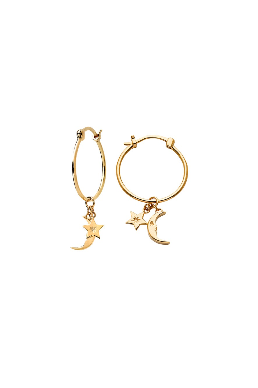 Moon and Star Charm Hoops Gold