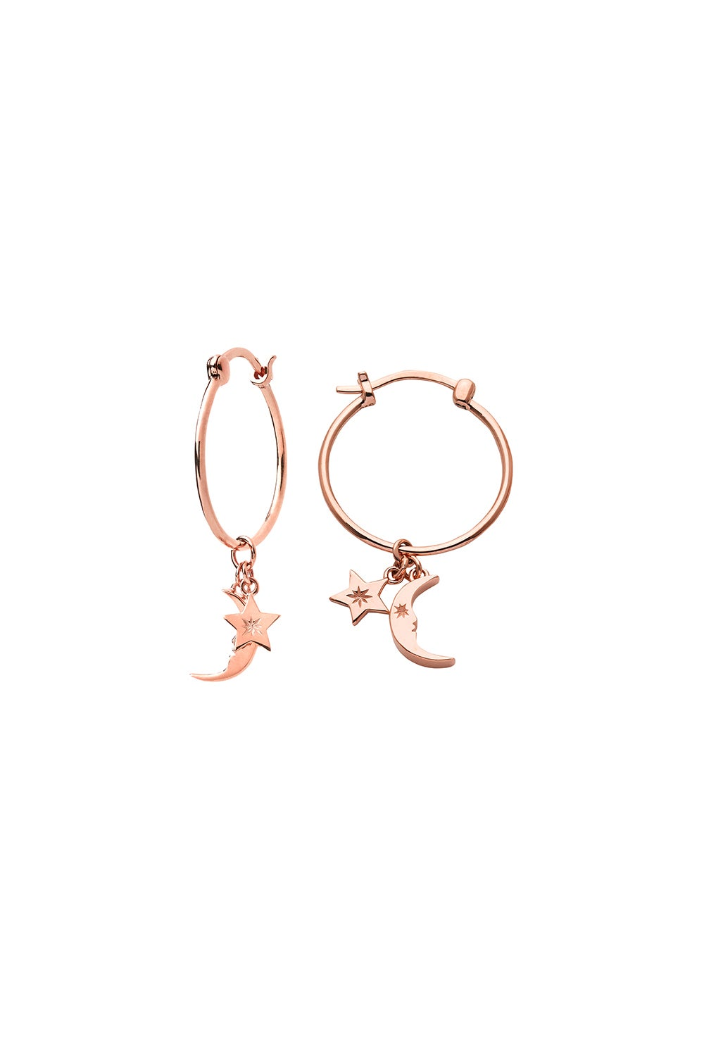 Moon and Star Charm Hoops Rose Gold