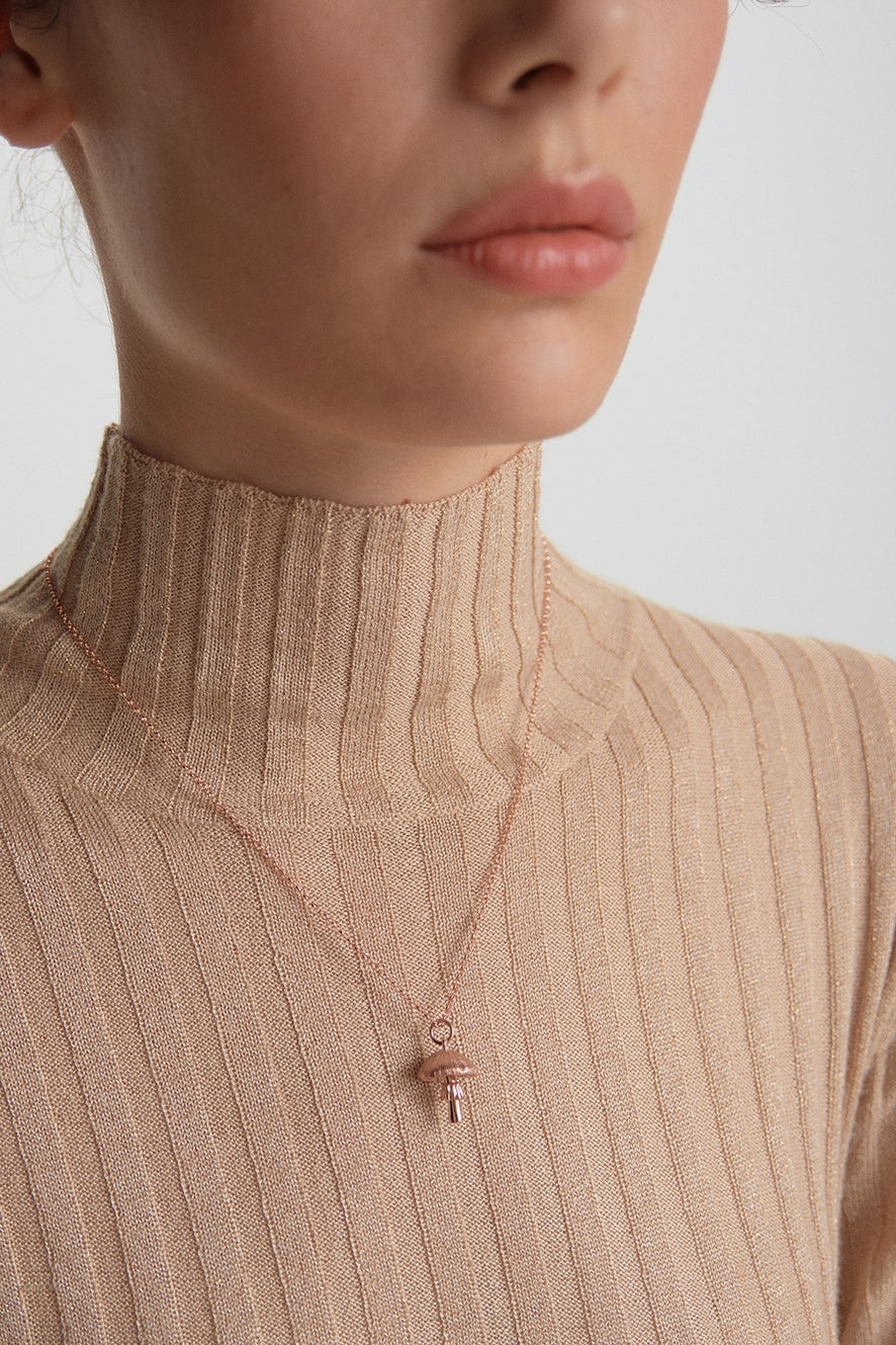 Mushroom Necklace Rose Gold