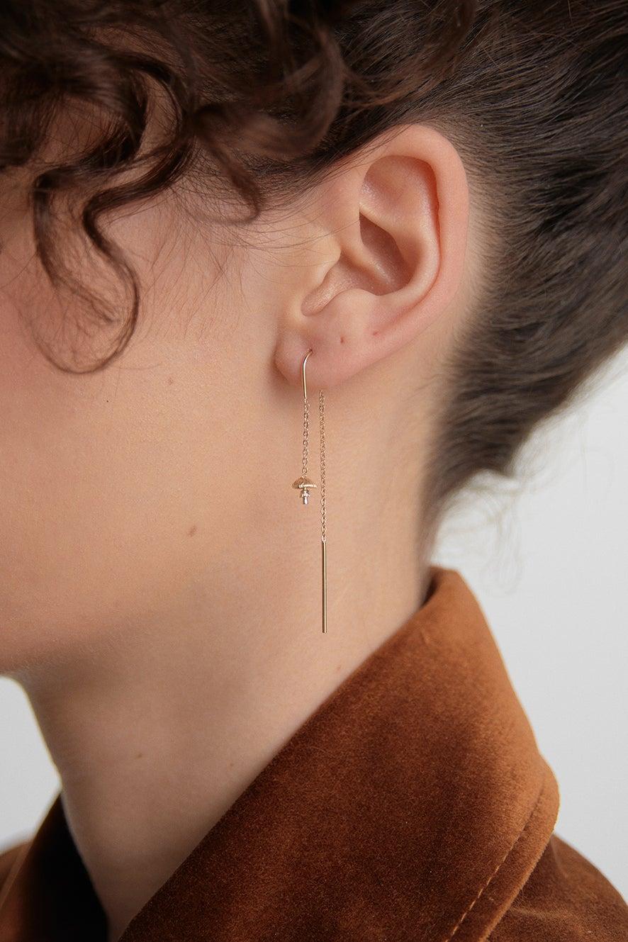 Mushroom Thread Earrings Gold