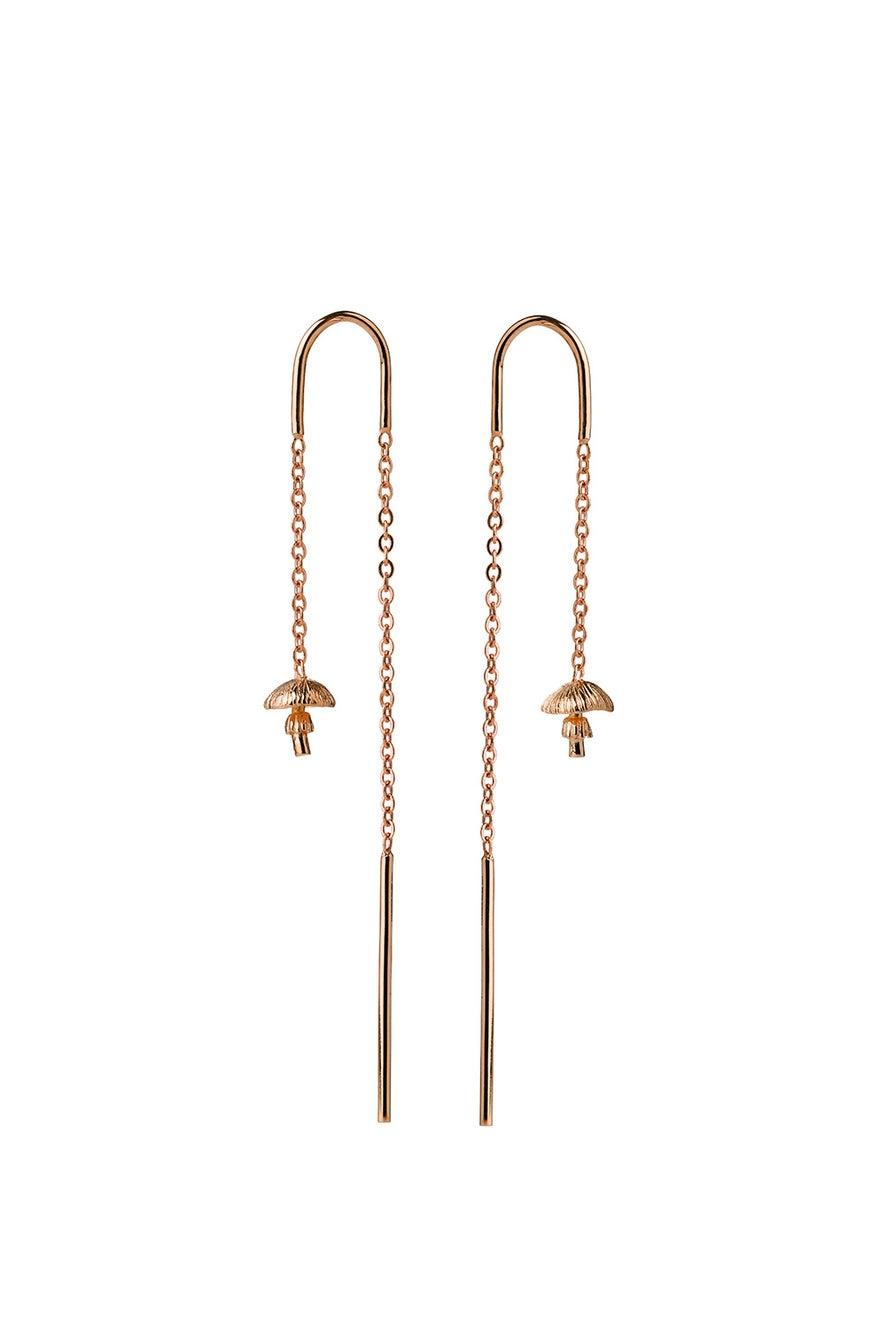 Mushroom Thread Earrings Rose Gold