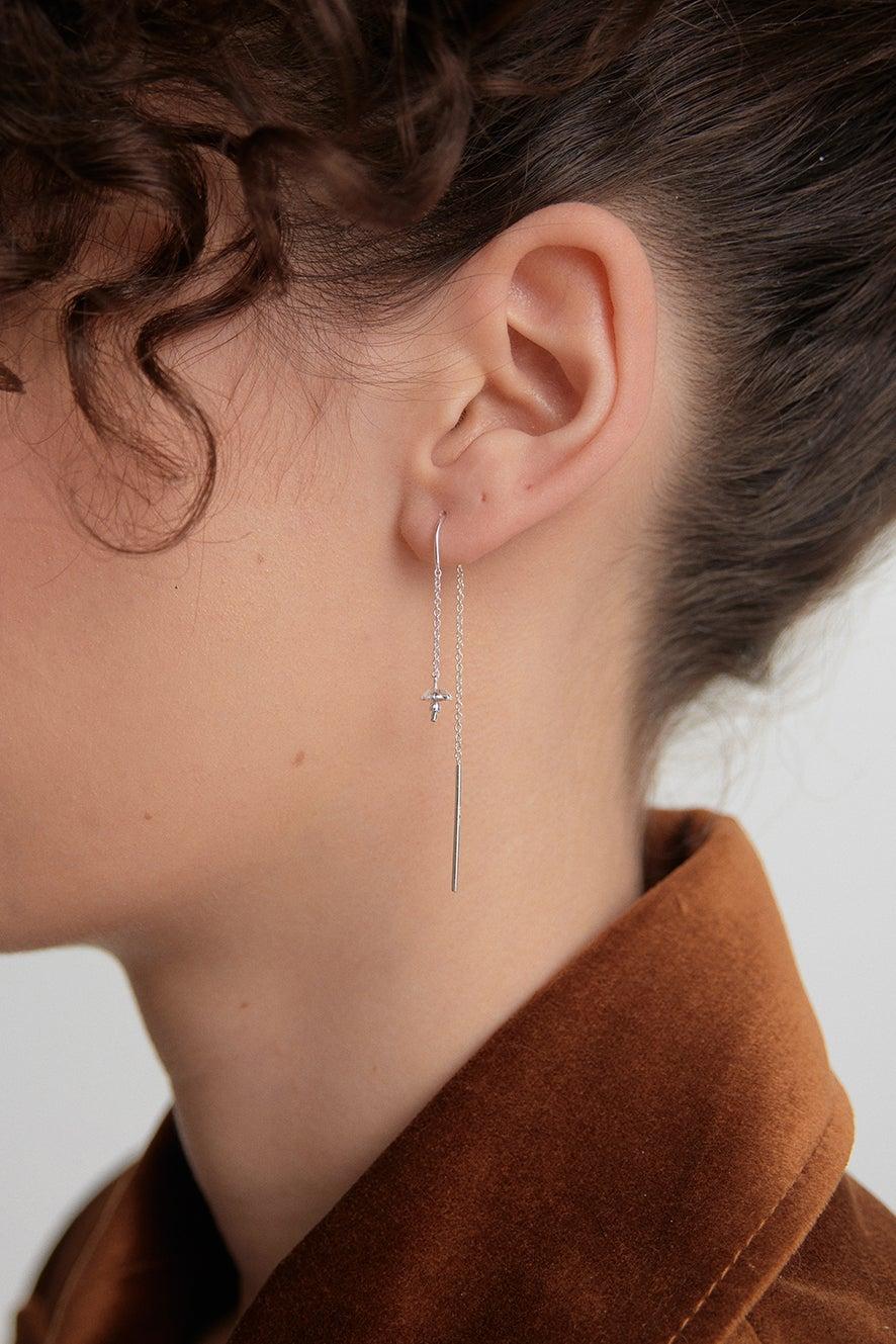 Mushroom Thread Earrings Silver