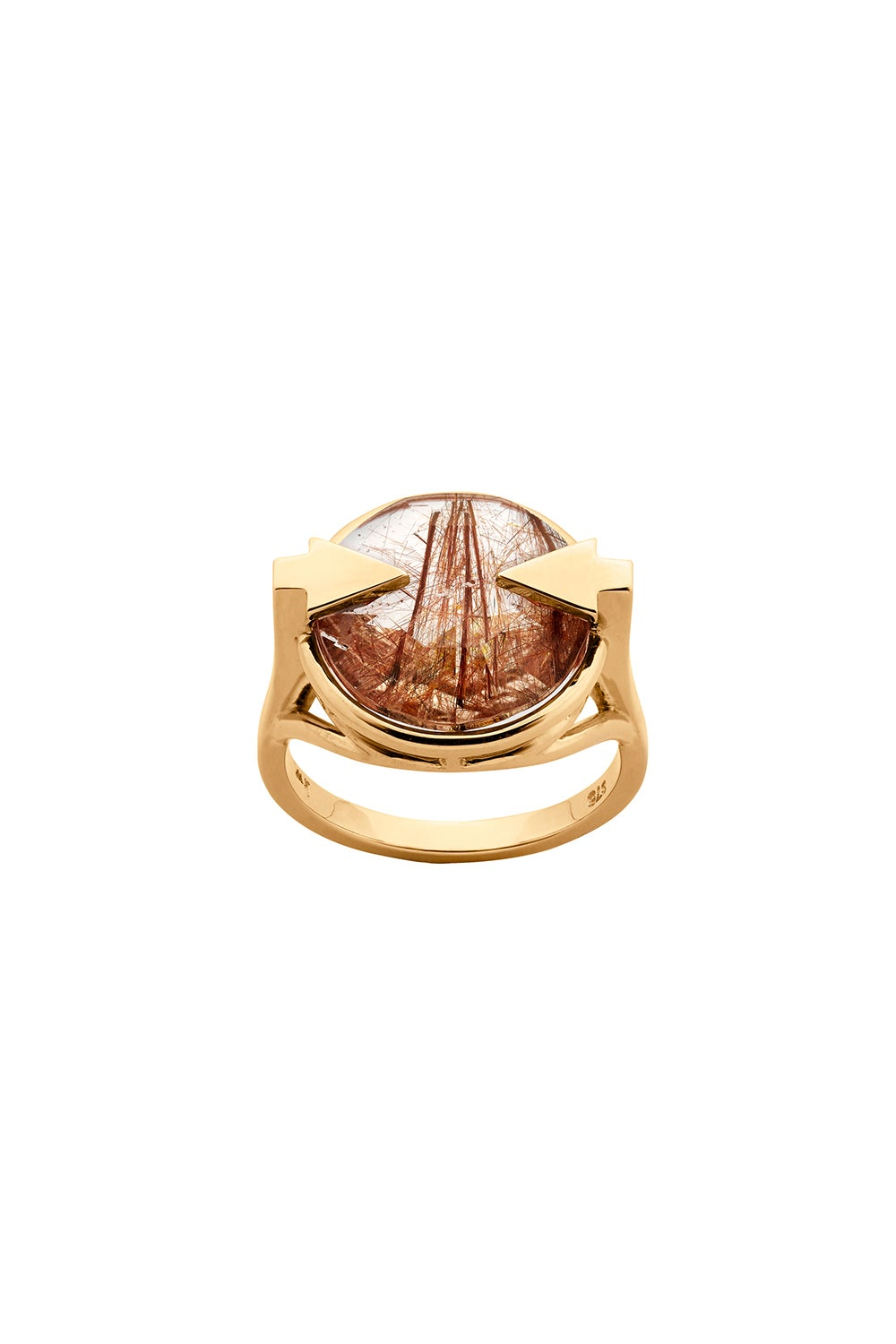 Navigator Ring with 14mm Round Rutilated Quartz Gold