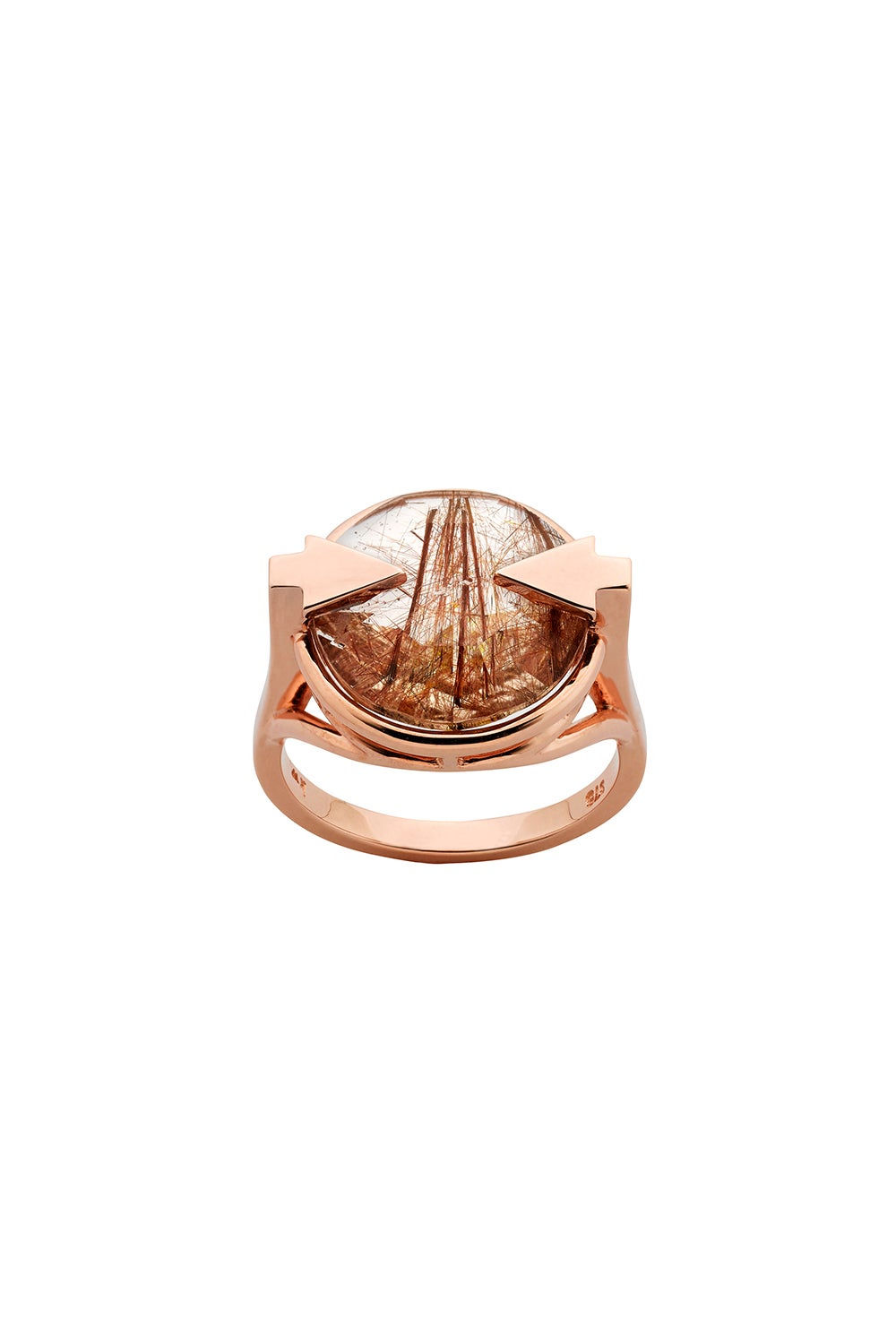 Navigator Ring with 14mm Round Rutilated Quartz Rose Gold