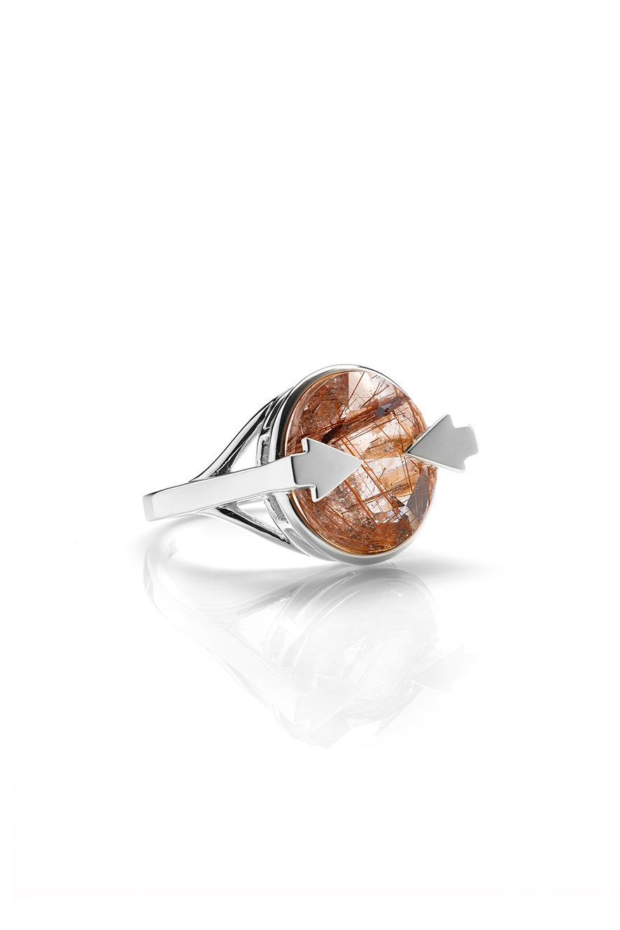 Navigator Ring with 14mm Round Rutilated Quartz Silver