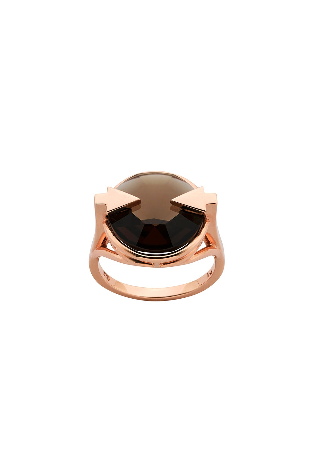 Navigator Ring with 14mm Round Smoky Quartz Rose Gold