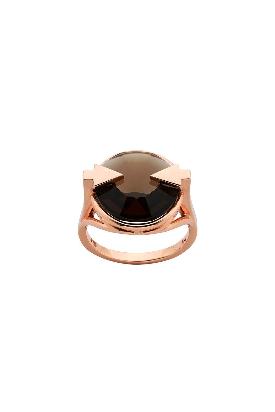 Navigator Ring with 14mm Round Smoky Quartz Rose Gold