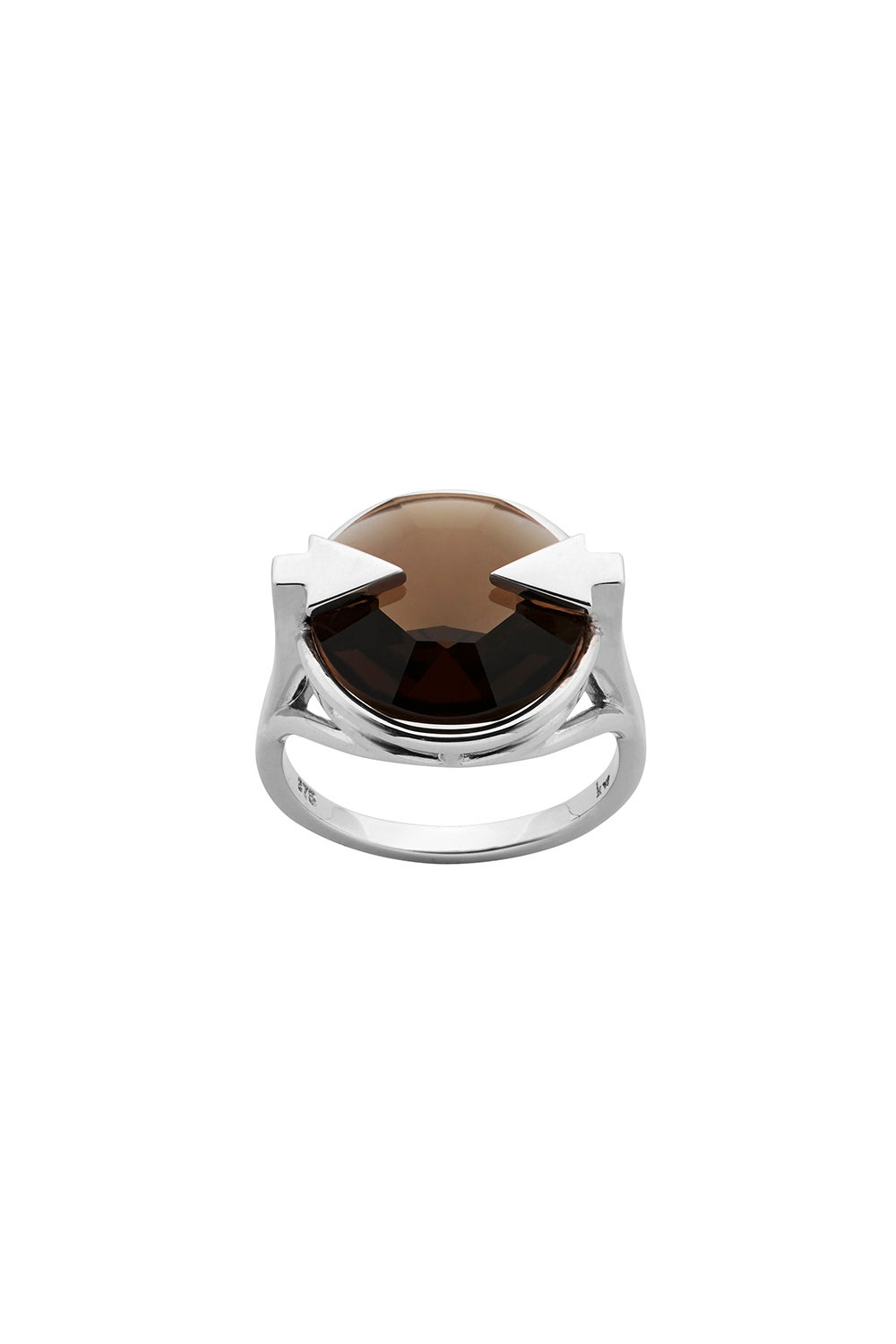 Navigator Ring with 14mm Round Smoky Quartz Silver