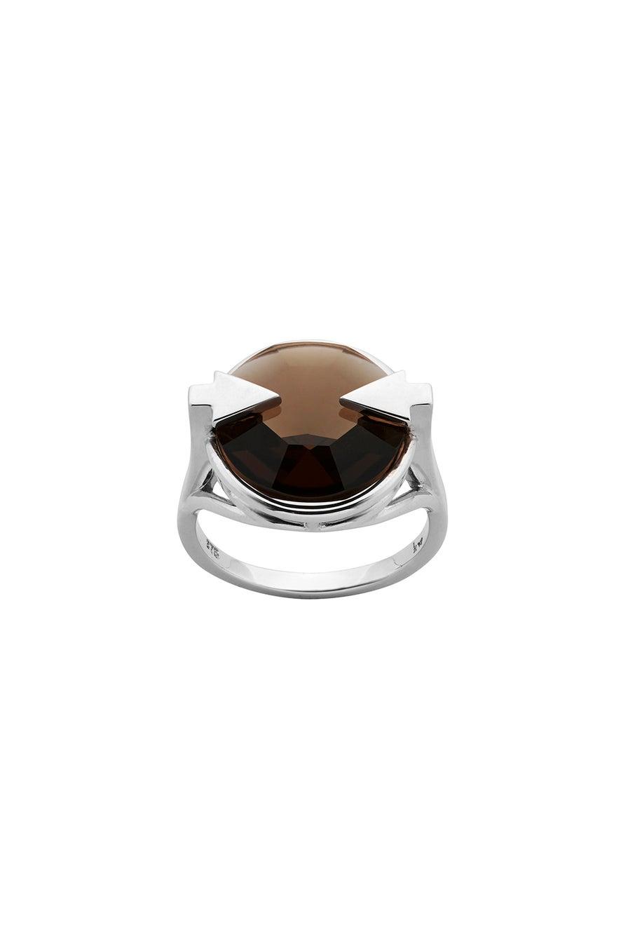 Navigator Ring with 14mm Round Smoky Quartz Silver