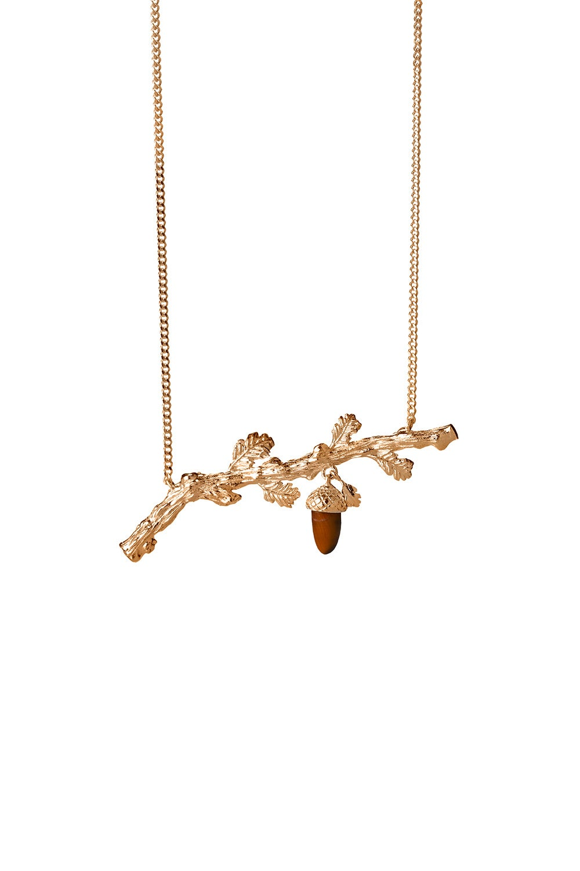 Oak Branch Necklace Gold