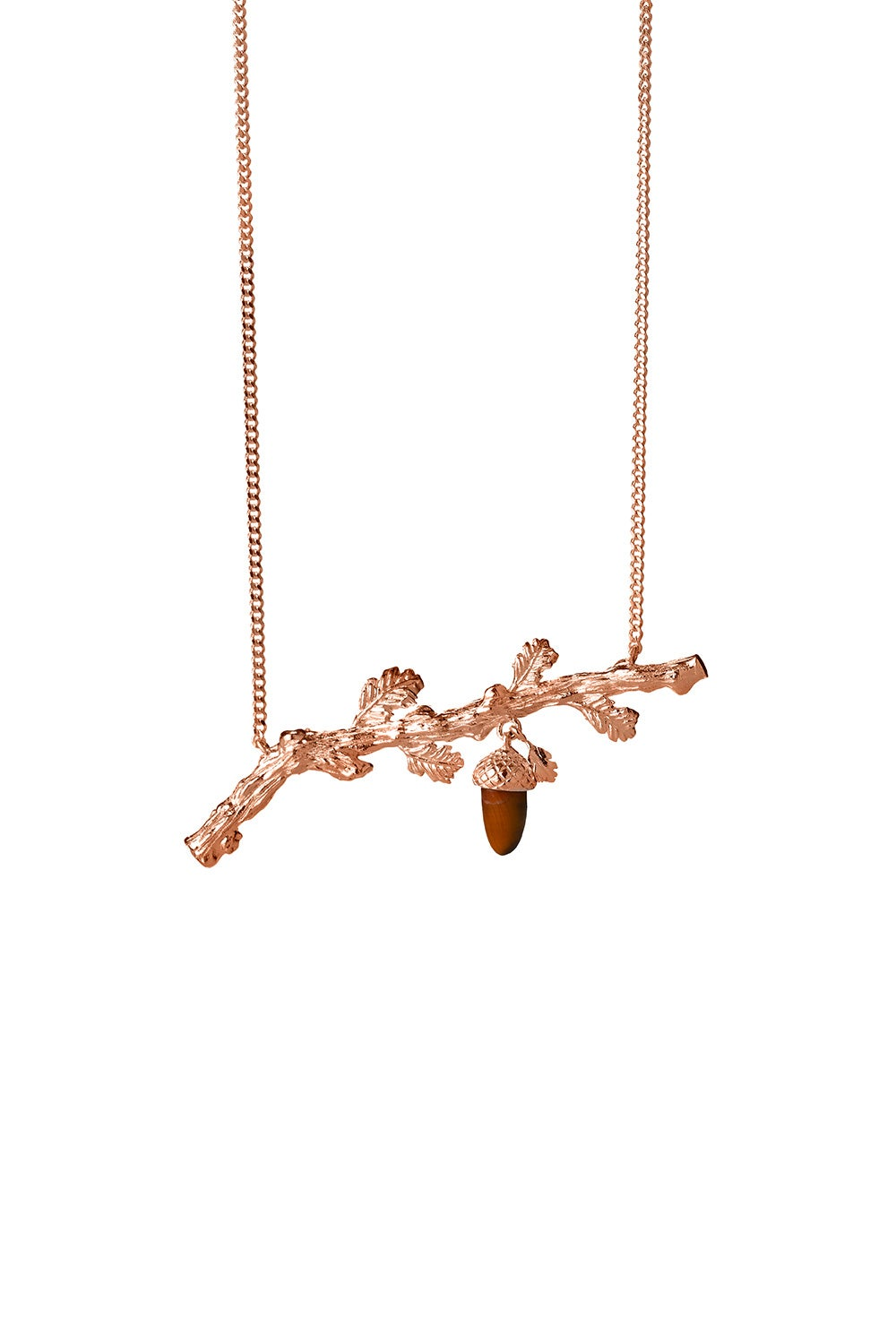 Oak Branch Necklace Rose Gold
