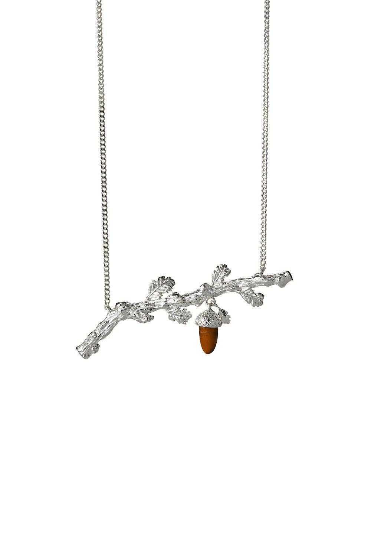 Oak Branch Necklace Silver