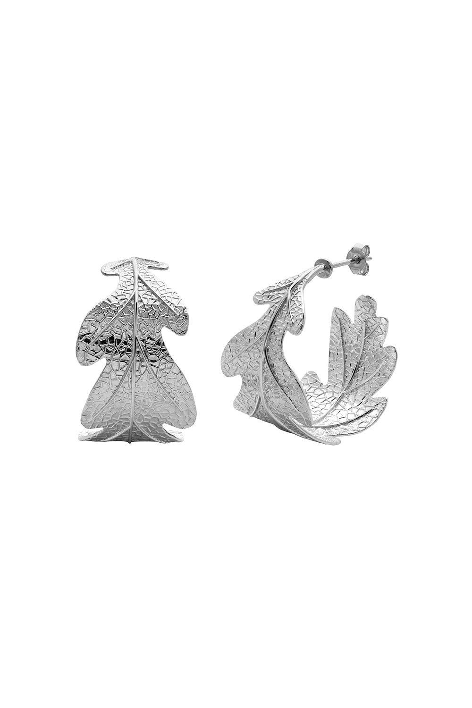 Oak Leaf Earrings Silver