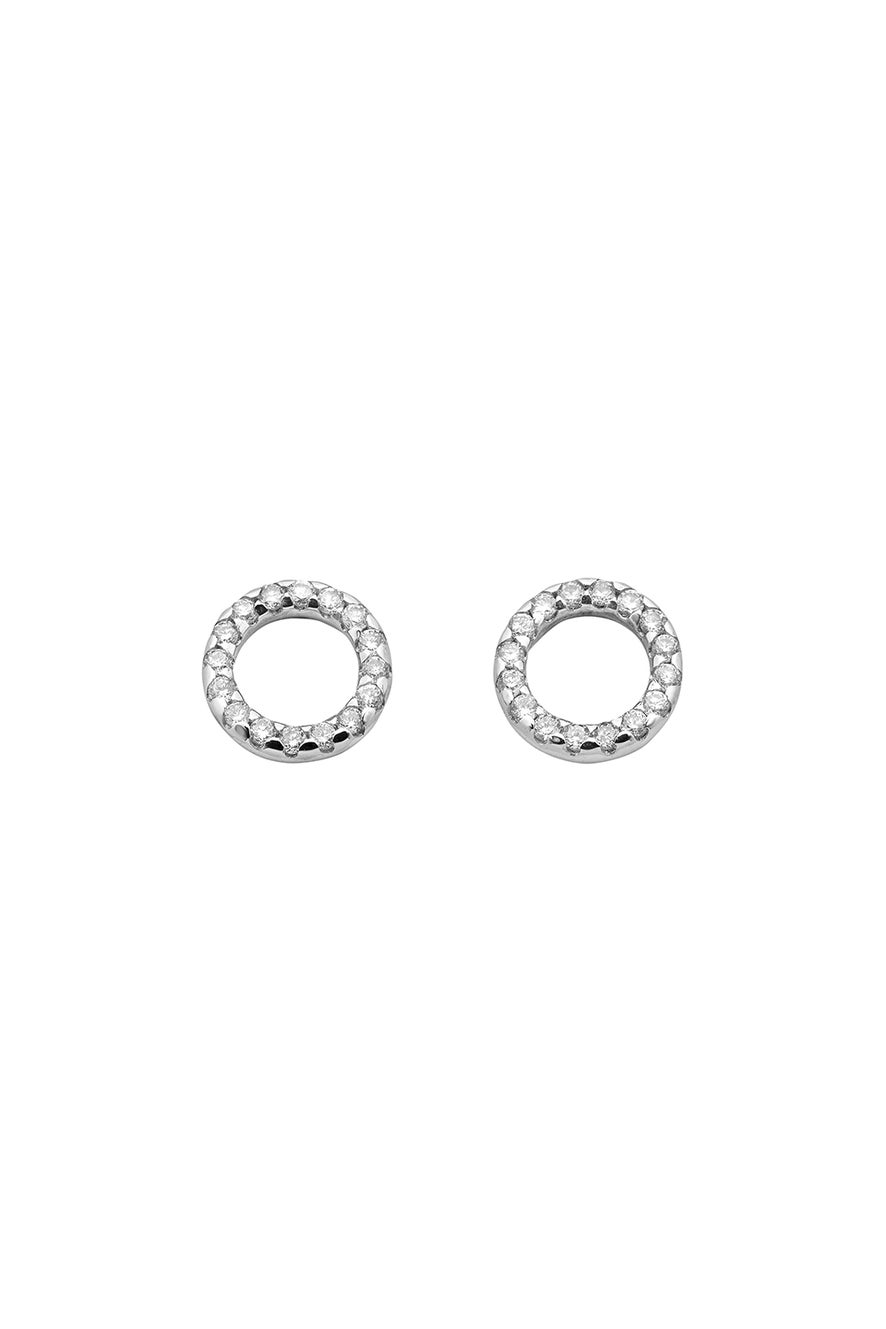 Orbit Diamond Earrings, 9ct White Gold, .21ct Diamond