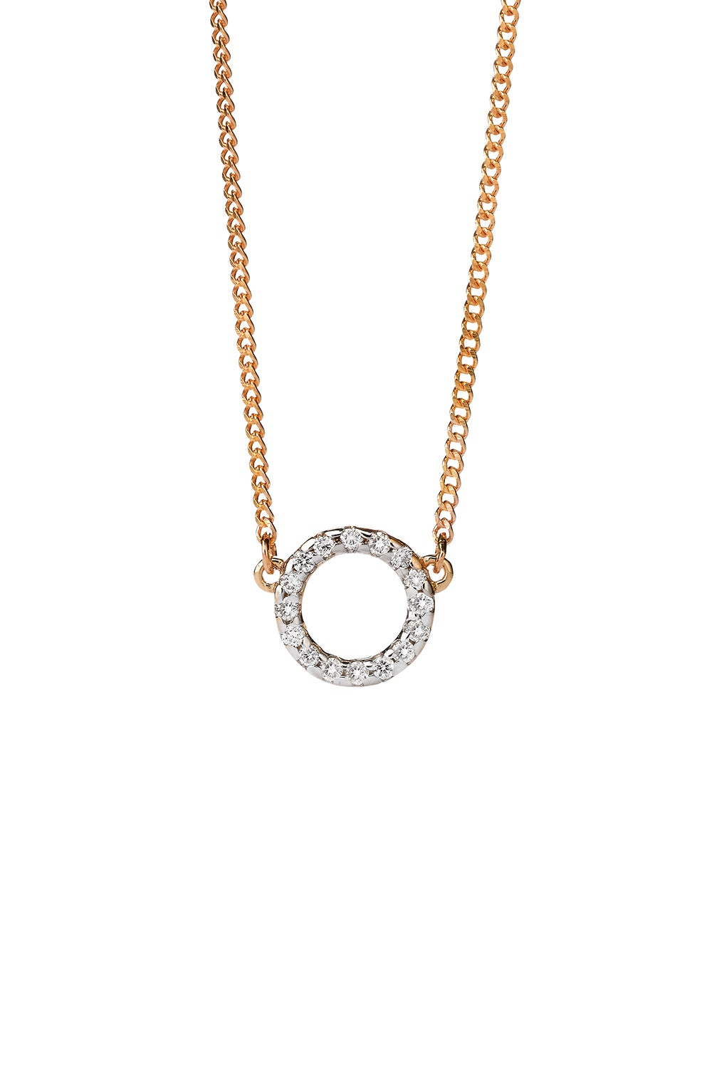 Orbit Diamond Necklace, 9ct Gold, .11ct Diamond