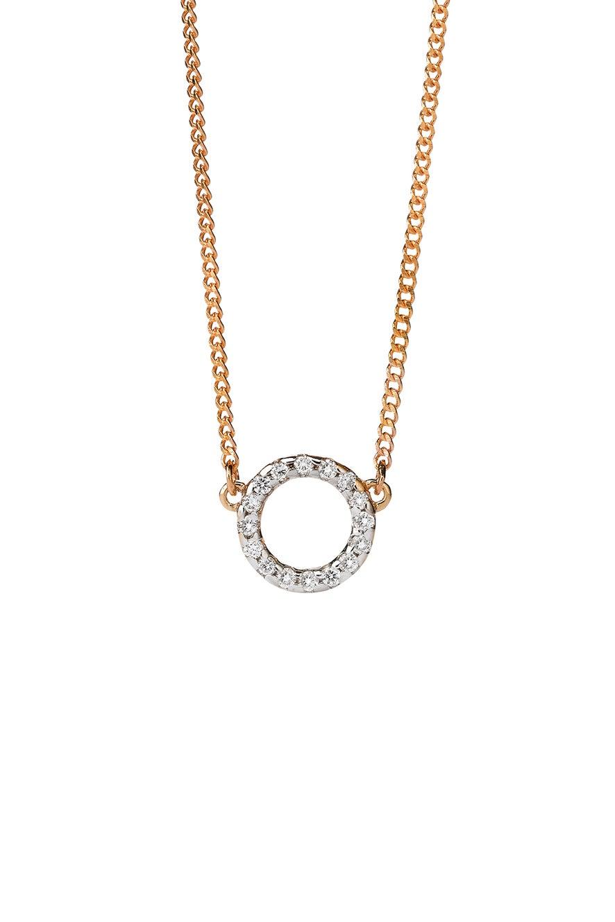 Orbit Diamond Necklace, 9ct Gold, .11ct Diamond