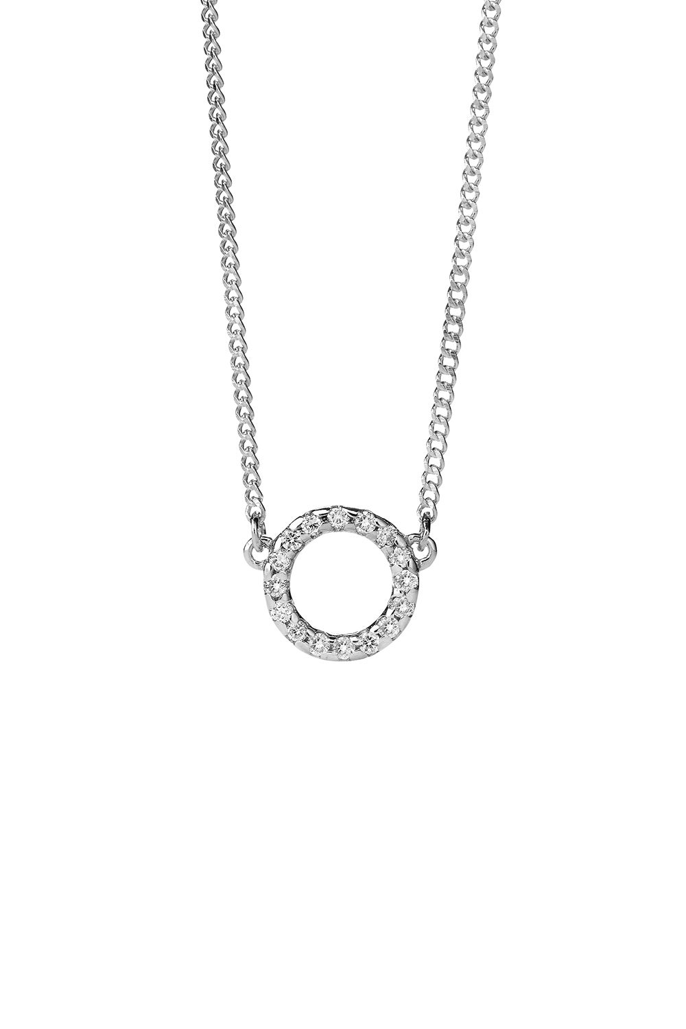 Orbit Diamond Necklace, 9ct White Gold, .11ct Diamond