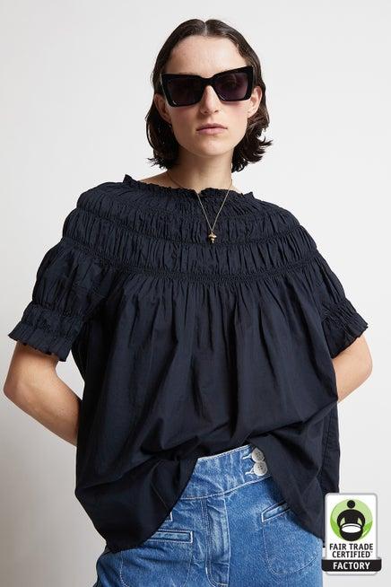 Organic Cotton Shirred Blouse