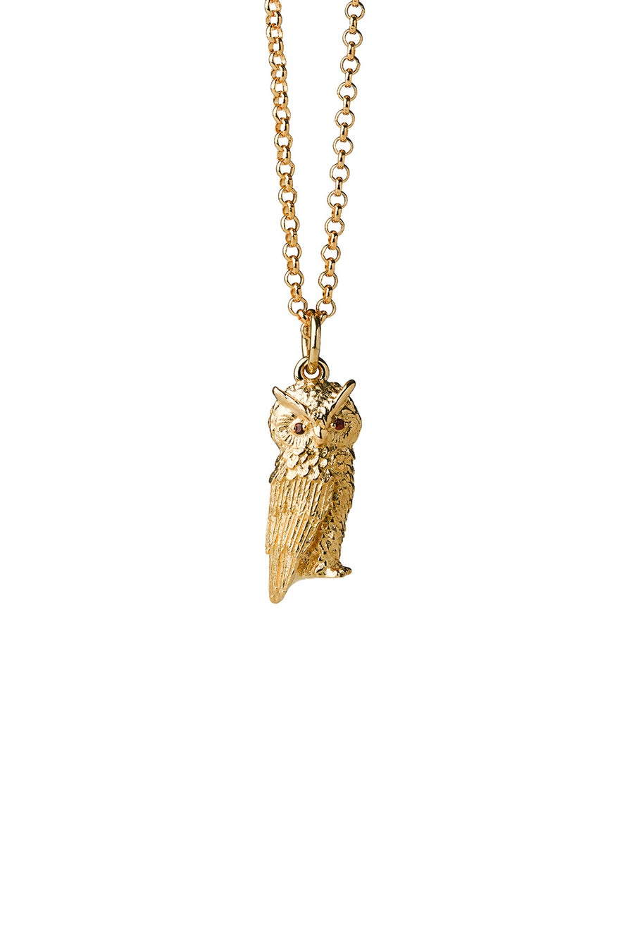Owl Necklace Gold with Garnet