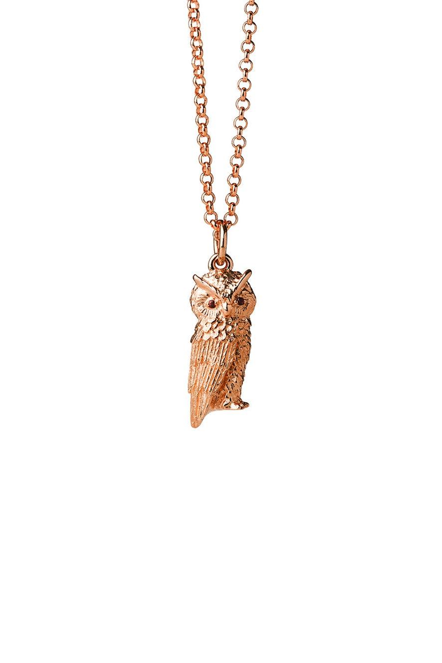 Owl Necklace Rose Gold with Garnet