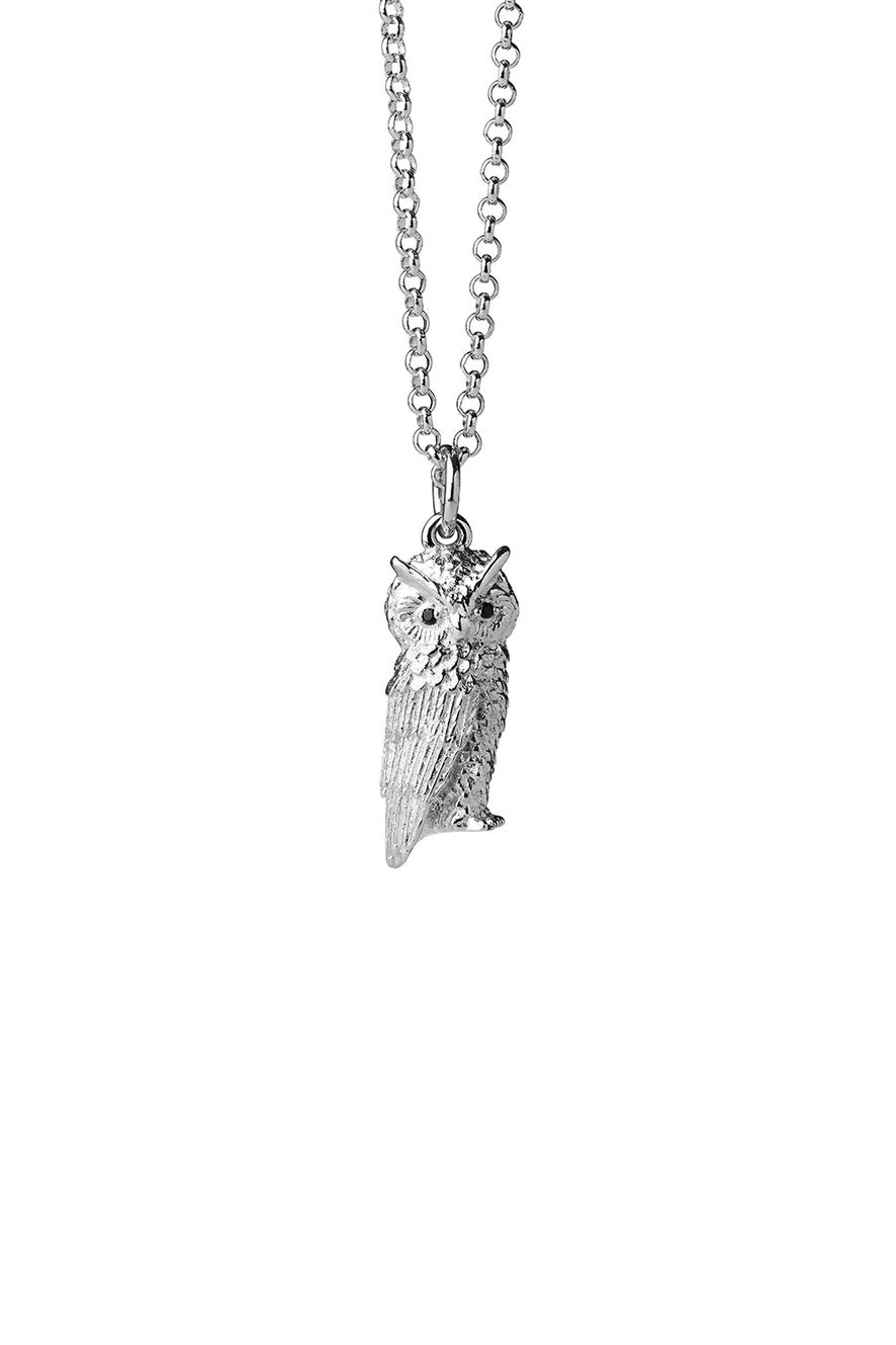 Owl Necklace Silver with Garnet