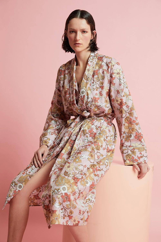 Papinelle x Karen Walker Garden Floral Robe Misty Pink