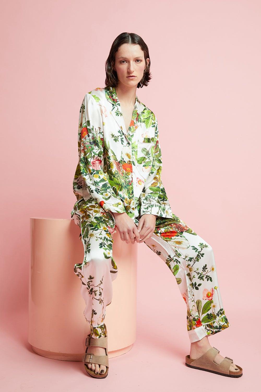 Papinelle x Karen Walker Love Letter Floral Silk PJ Ivory