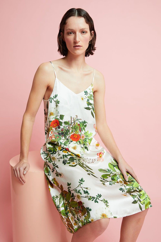 Papinelle x Karen Walker Love Letter Floral Silk Slip Nightie Ivory