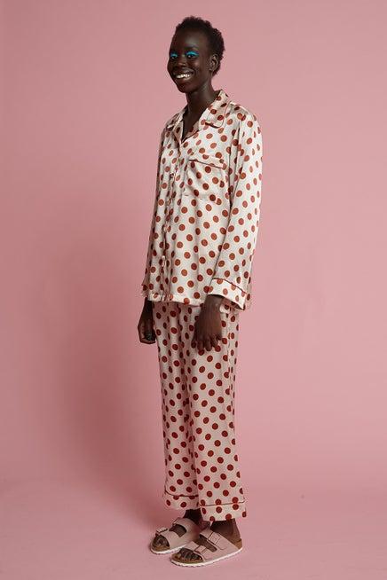 Papinelle x Karen Walker Silk Spot Full Length PJ Set