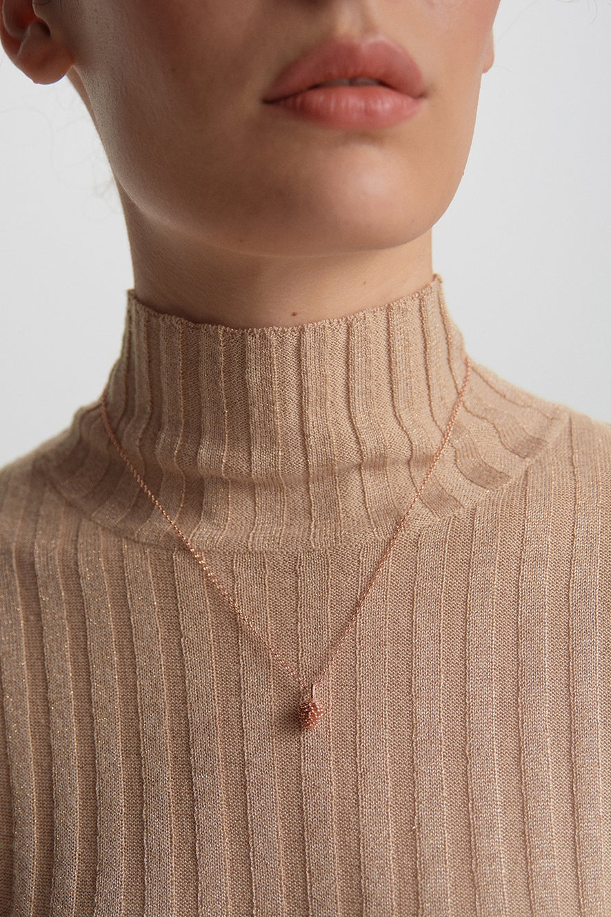 Pinecone Necklace Rose Gold
