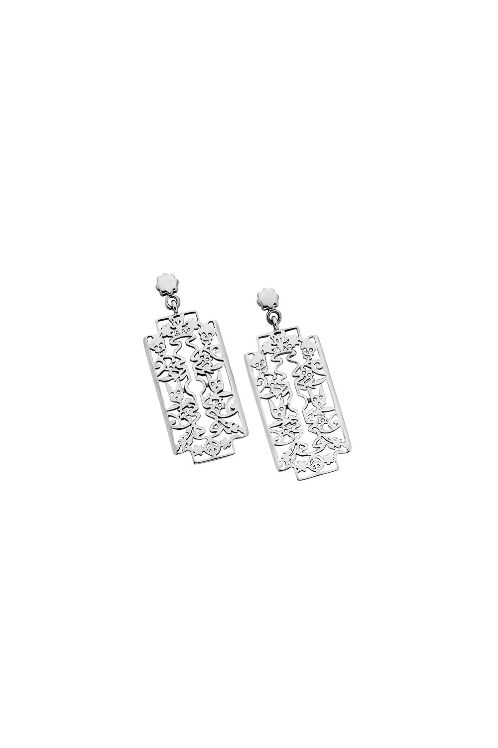 Razor Earrings Silver