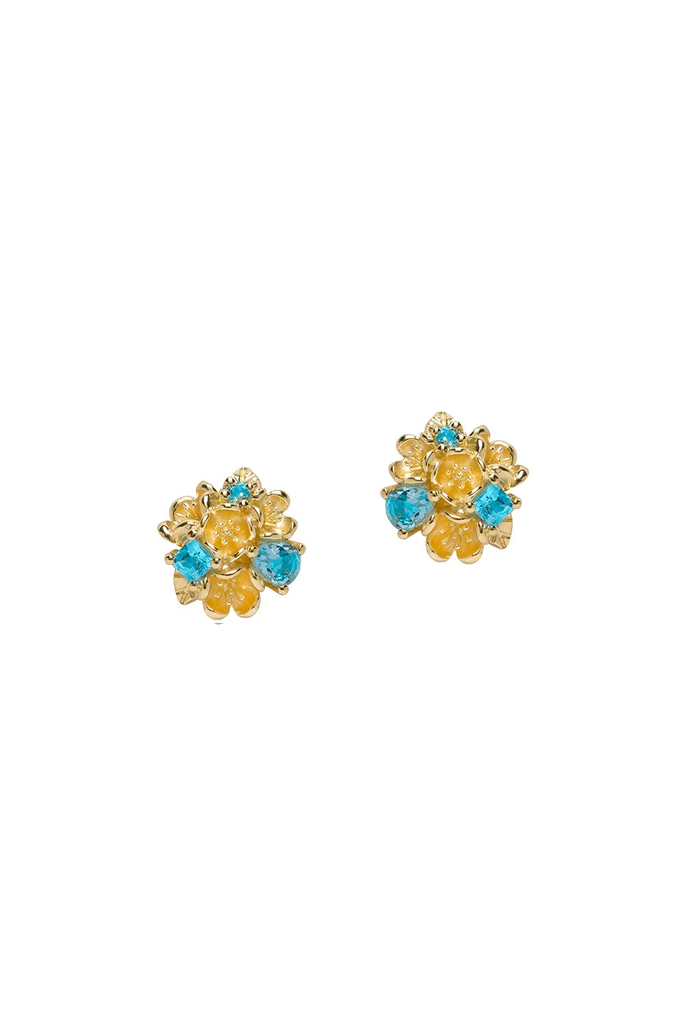 Rock Garden Flower Ball Earrings Gold & Topaz