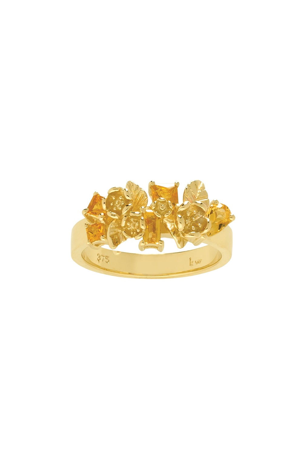 Rock Garden Flowers Ring Gold & Citrine