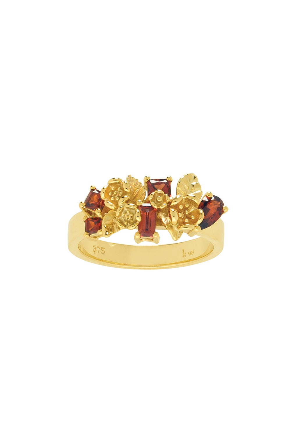 Rock Garden Flowers Ring Gold & Garnet