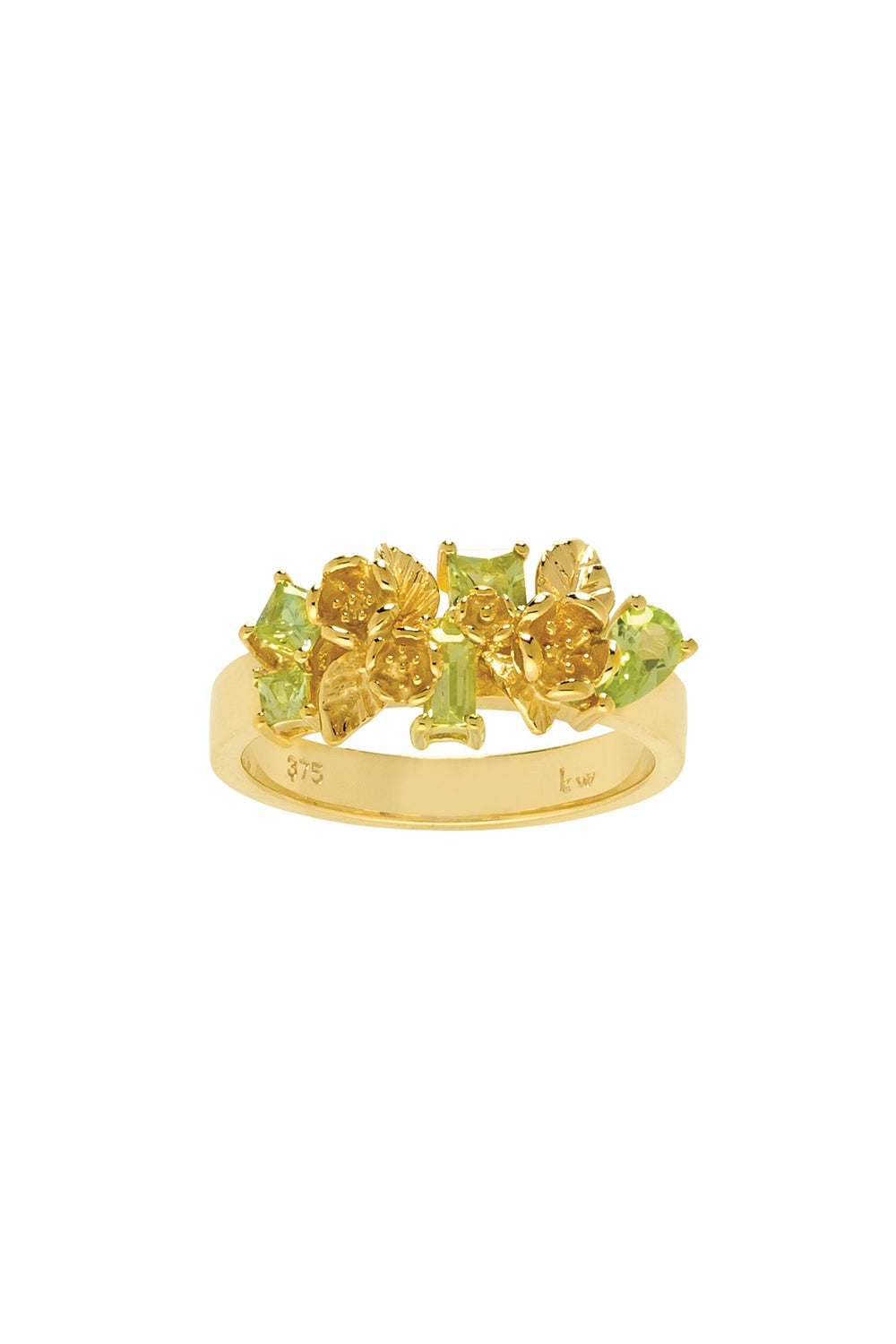 Rock Garden Flowers Ring Gold & Peridot