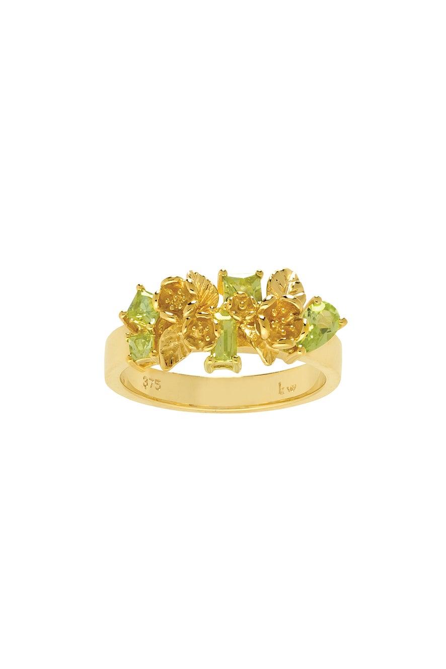 Rock Garden Flowers Ring Gold & Peridot