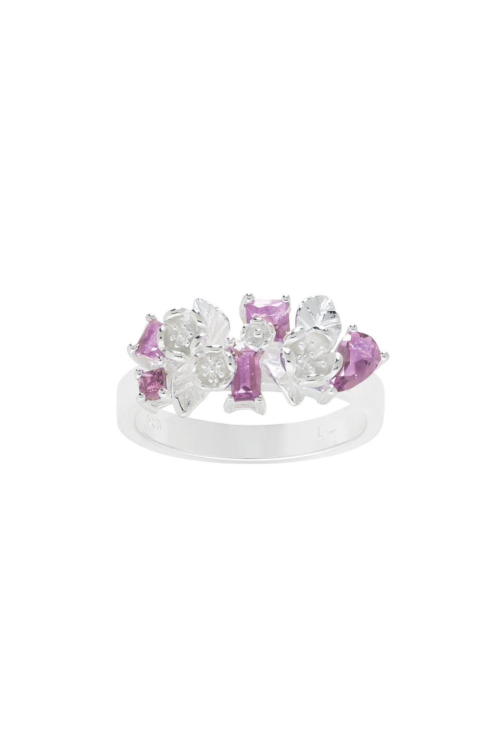 Rock Garden Flowers Ring Silver & Amethyst