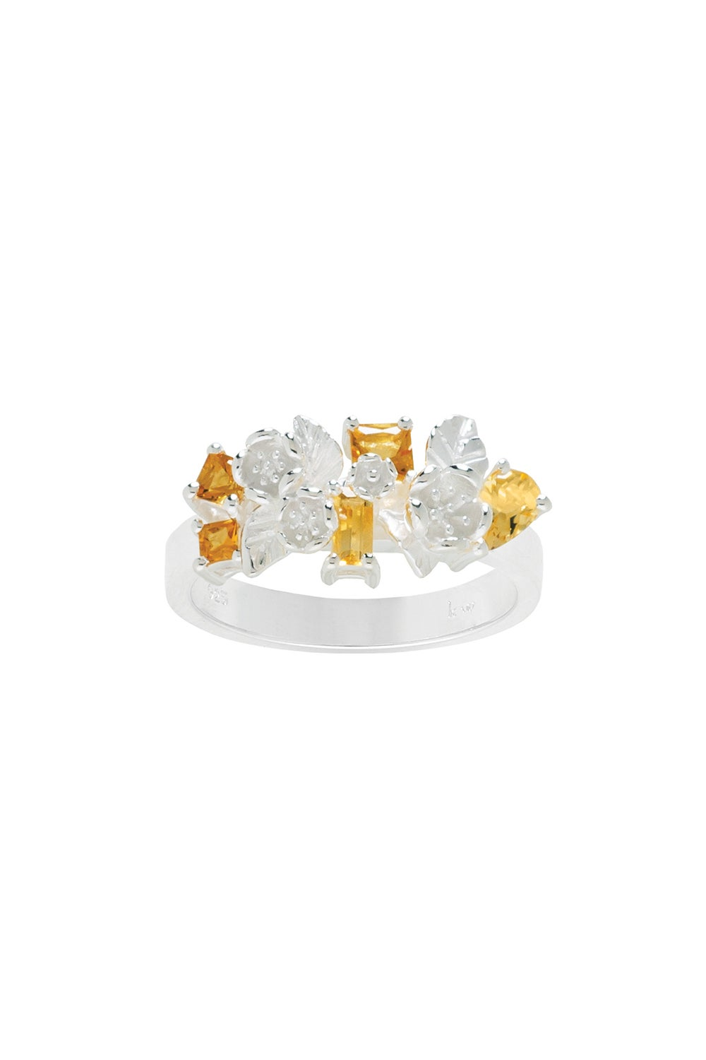 Rock Garden Flowers Ring Silver & Citrine