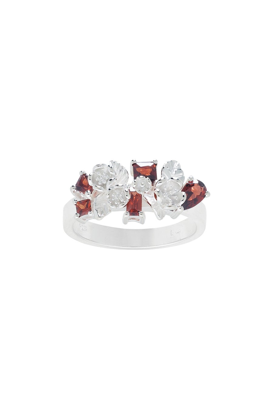 Rock Garden Flowers Ring Silver & Garnet