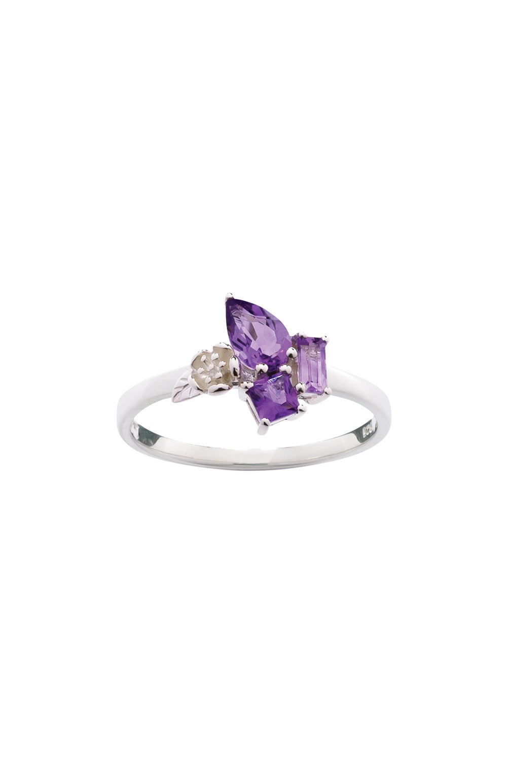 Rock Garden Mini Ring Silver & Amethyst