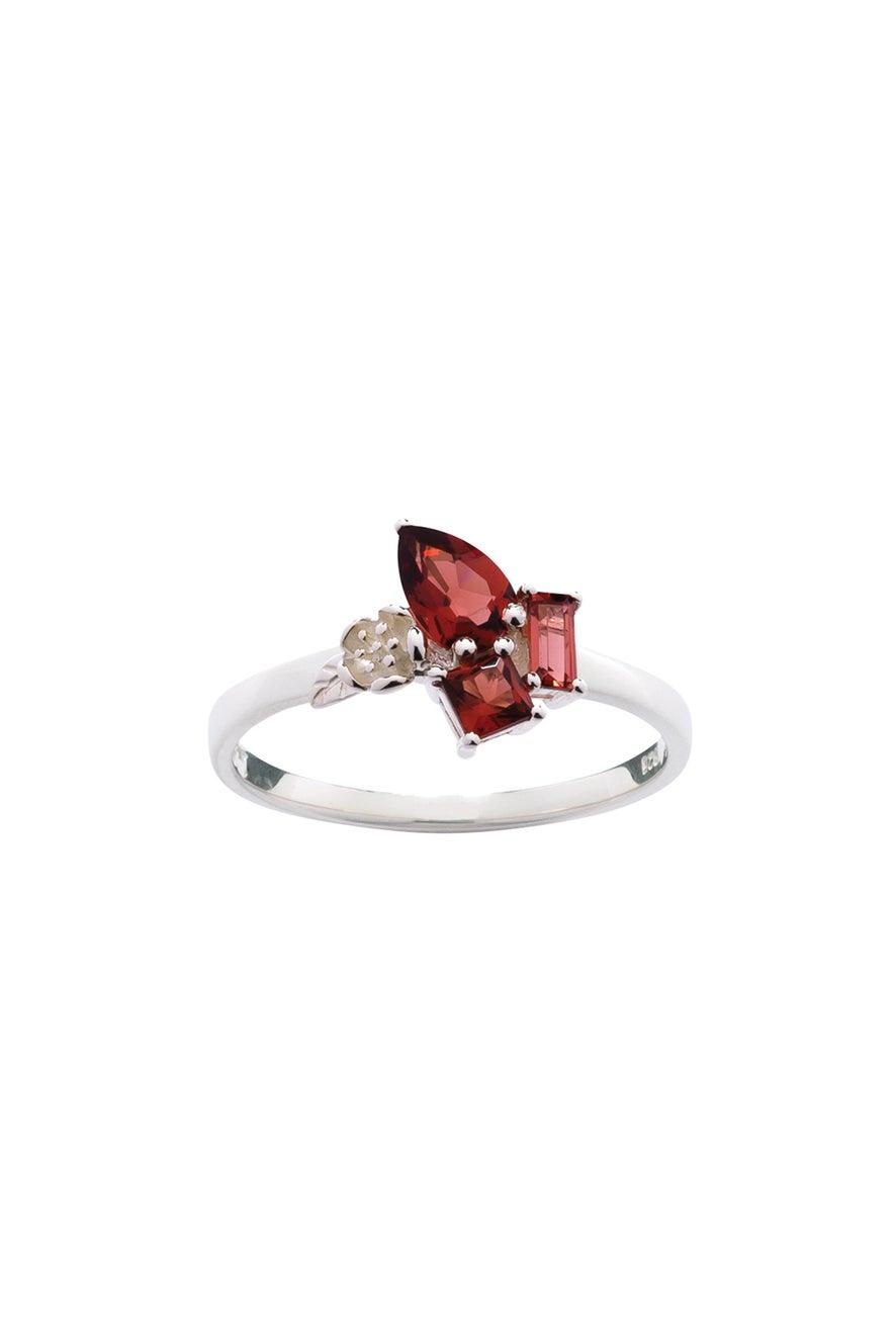 Rock Garden Mini Ring Silver & Garnet