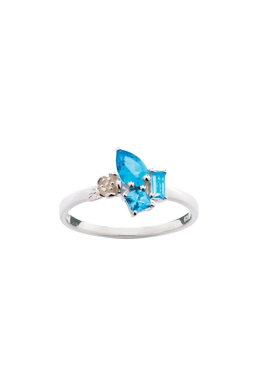Rock Garden Mini Ring Silver & Topaz