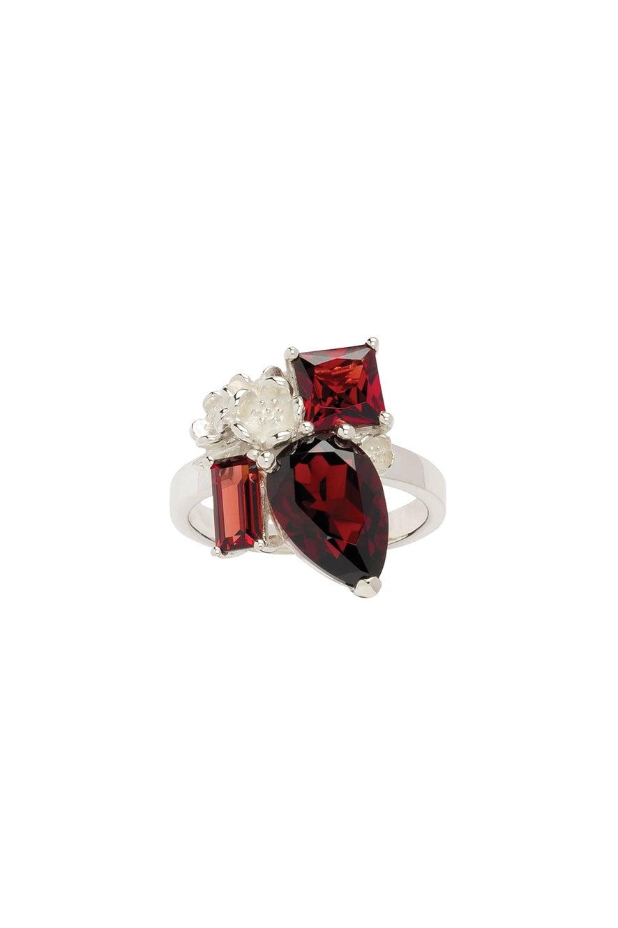 Rock Garden Ring Silver & Garnet