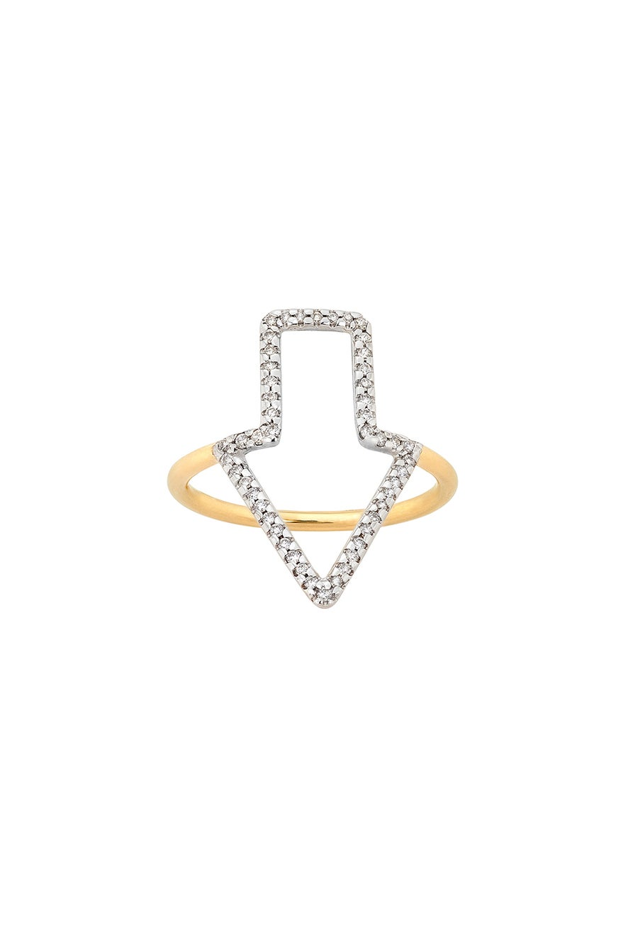 Diamond Runaway Arrow Ring, 9ct Gold, .28ct Diamond