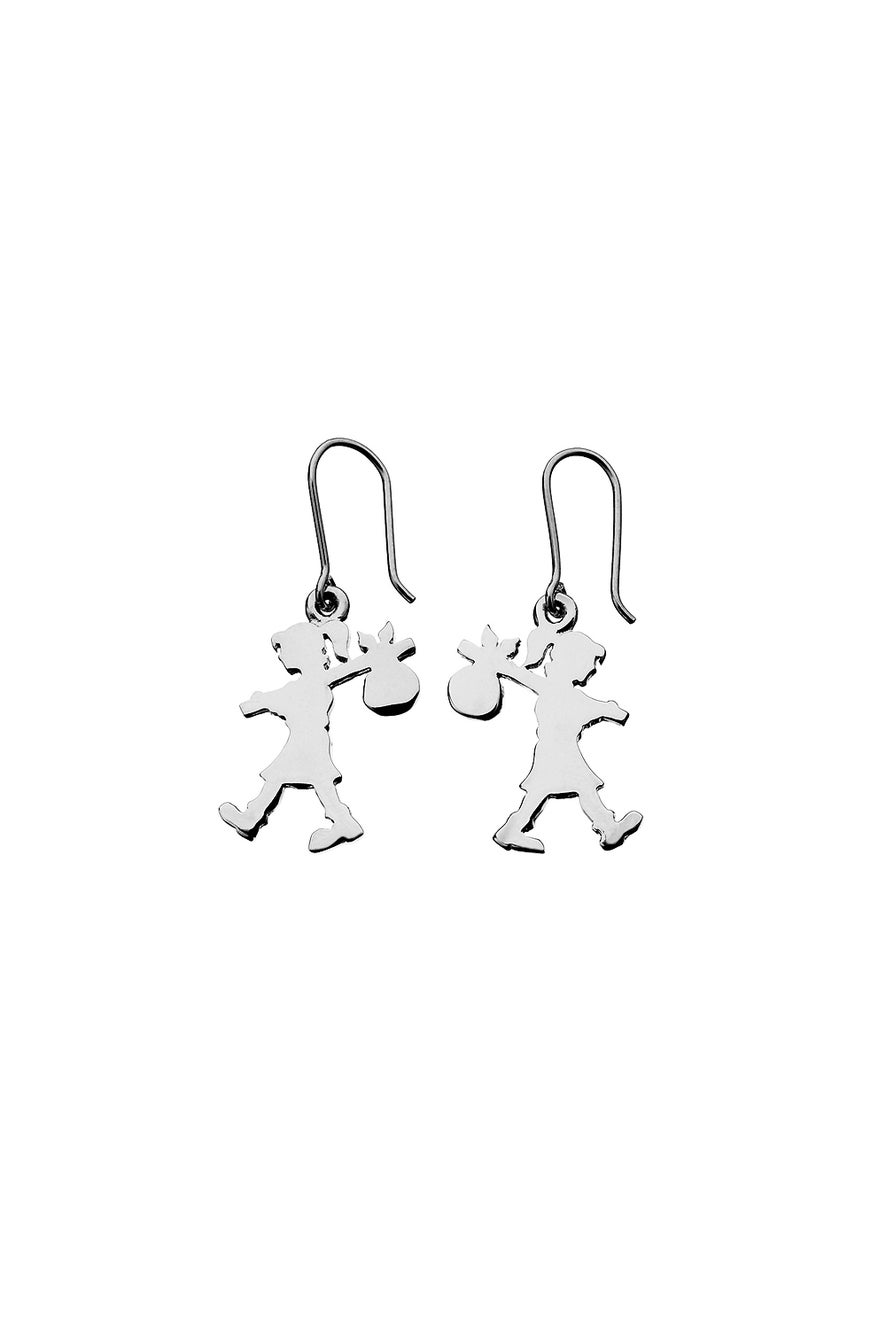 Runaway Girl Earrings Silver