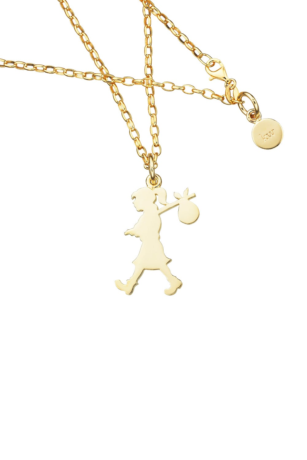 Runaway Girl Large Pendant Gold