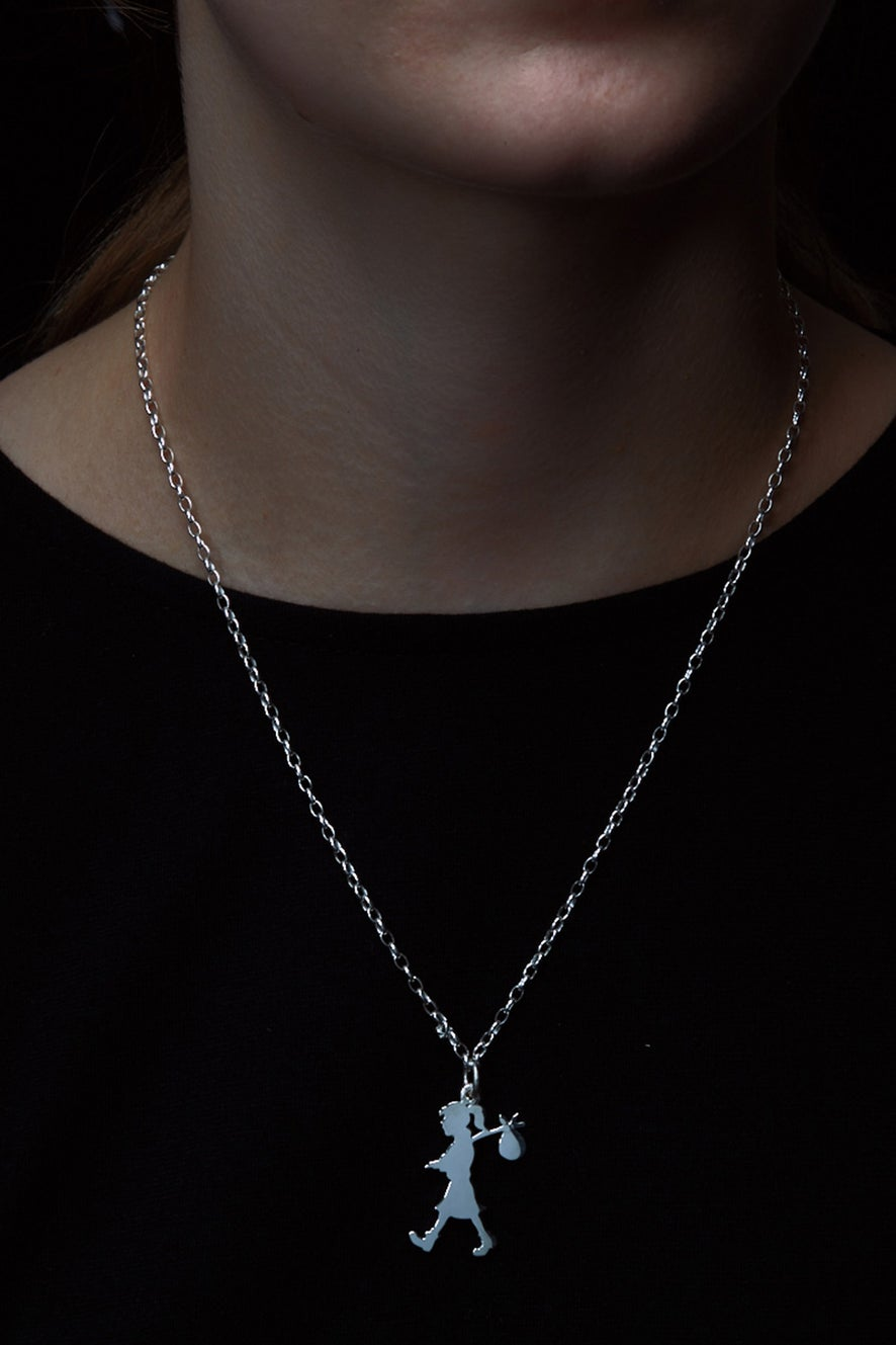 Runaway Girl Large Pendant Silver