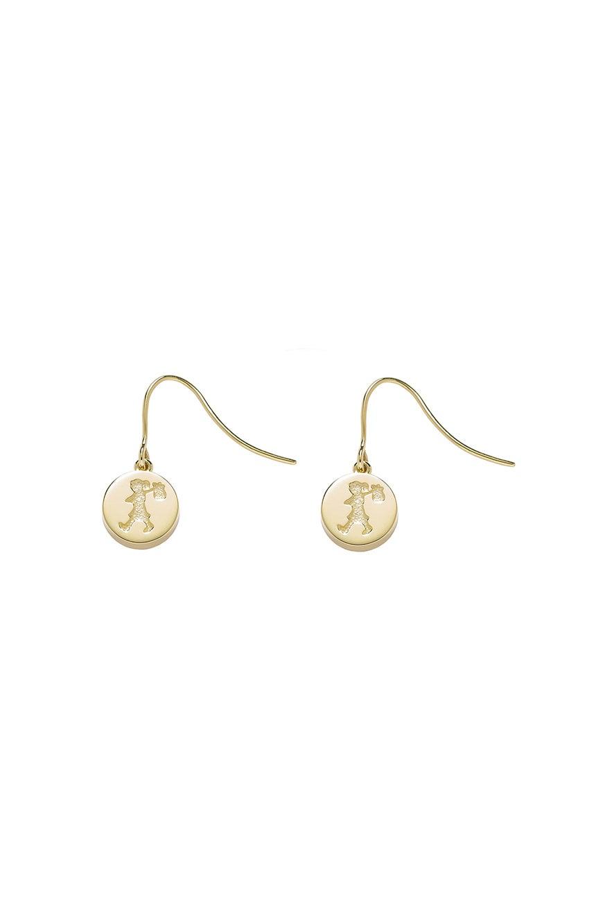 Runaway Stamp Earrings Gold